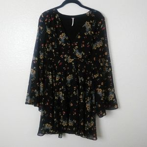 Free People Black Floral Dress with Bell Sleeves.M